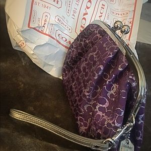 Coach Kisslock Wristlet or Clutch Purple/Silver
